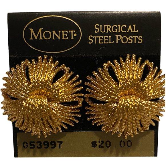 Monet Dramatic Golden Flower Pierced Earrings NEW